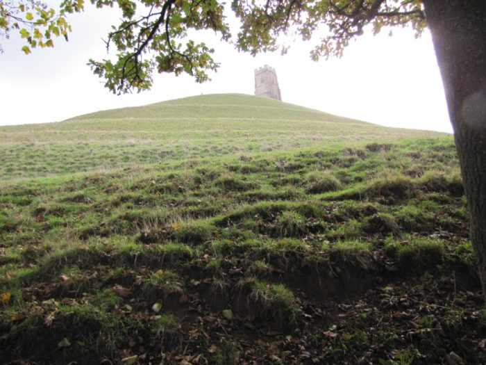 Tor, Glastonbury, England. Pathways of the labyrinth visible as horizontal lines.